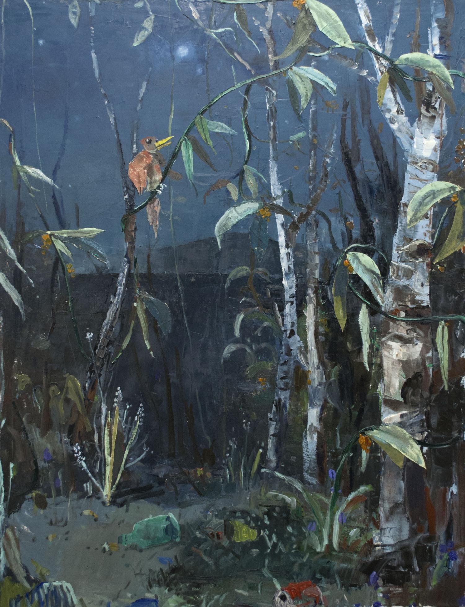 Fritz Bornstück - Ode An Den Birkenwald 120X150Cm Pigmente Auf Leinwandcollage 2017